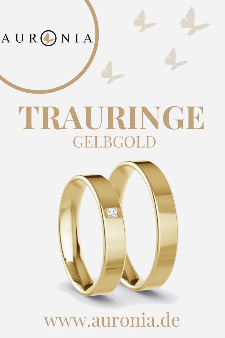 Trauringe Gelbgold Mit Stein, Schlicht, Schmal, Klassisch