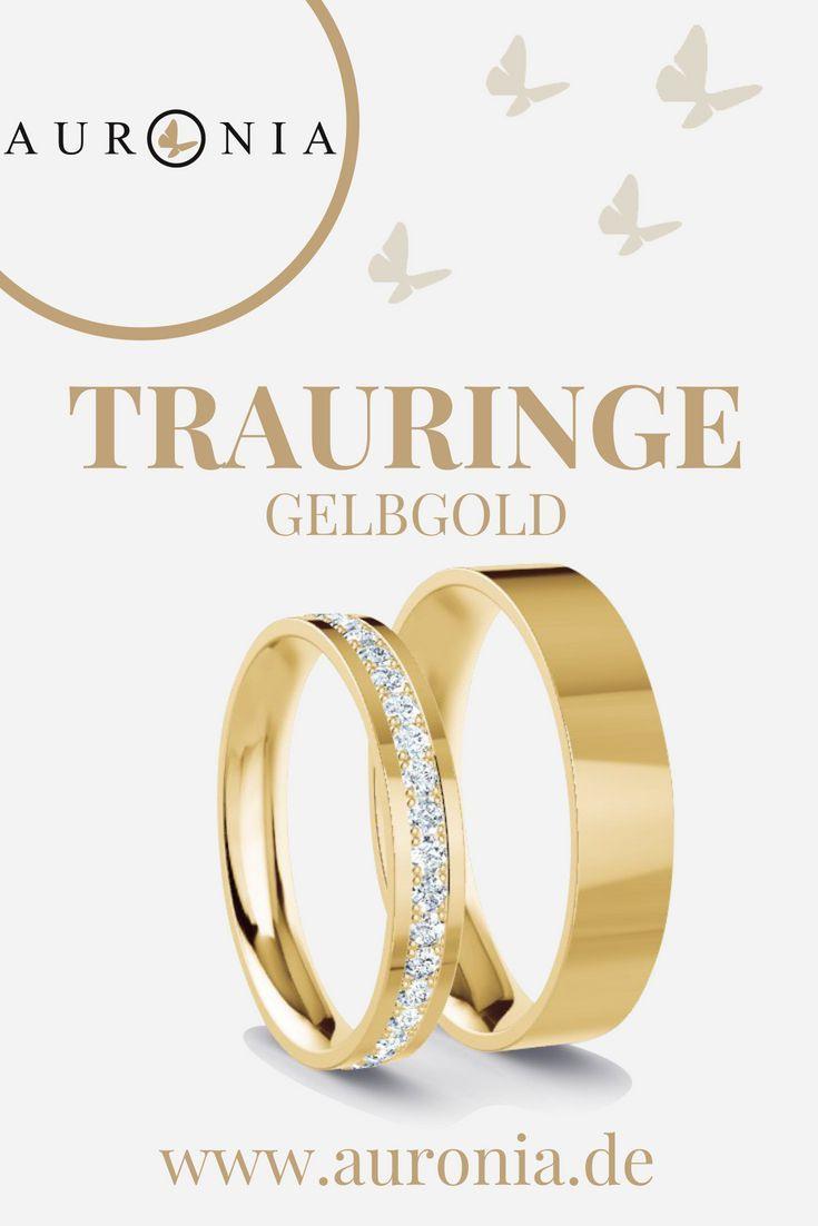 Trauringe Gelbgold Mit Stein, Schlicht, Schmal, Poliert