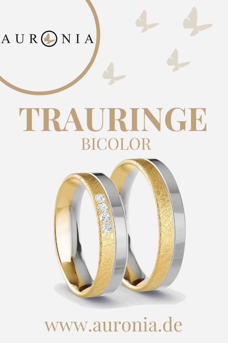 Trauringe Gelbgold Weißgold (Bicolor) Mit Stein, Breit