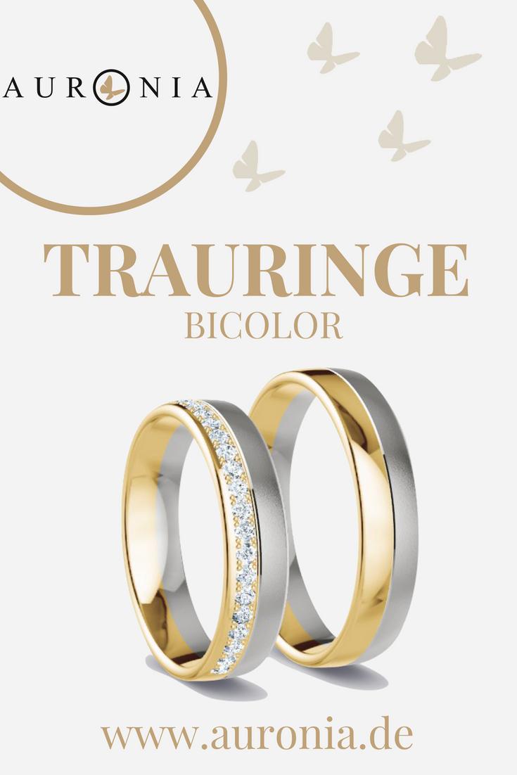 Trauringe Gelbgold Weißgold (Bicolor) Mit Stein, Schlicht