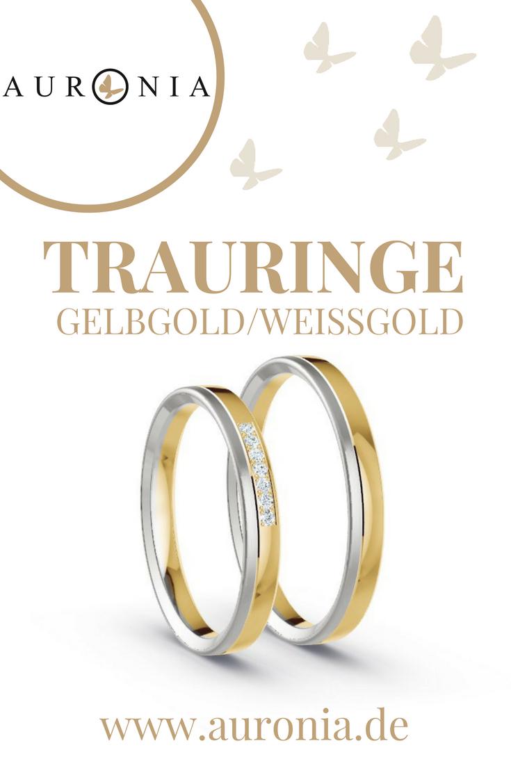 Trauringe Gelbgold Weißgold (Bicolor) Mit Stein, Schmal