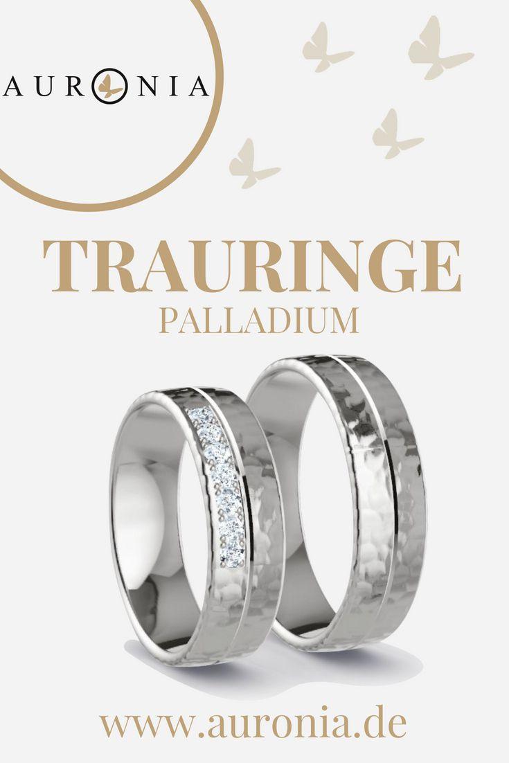 Trauringe Palladium Mit Stein, Schlicht, Breit, Gehämmert