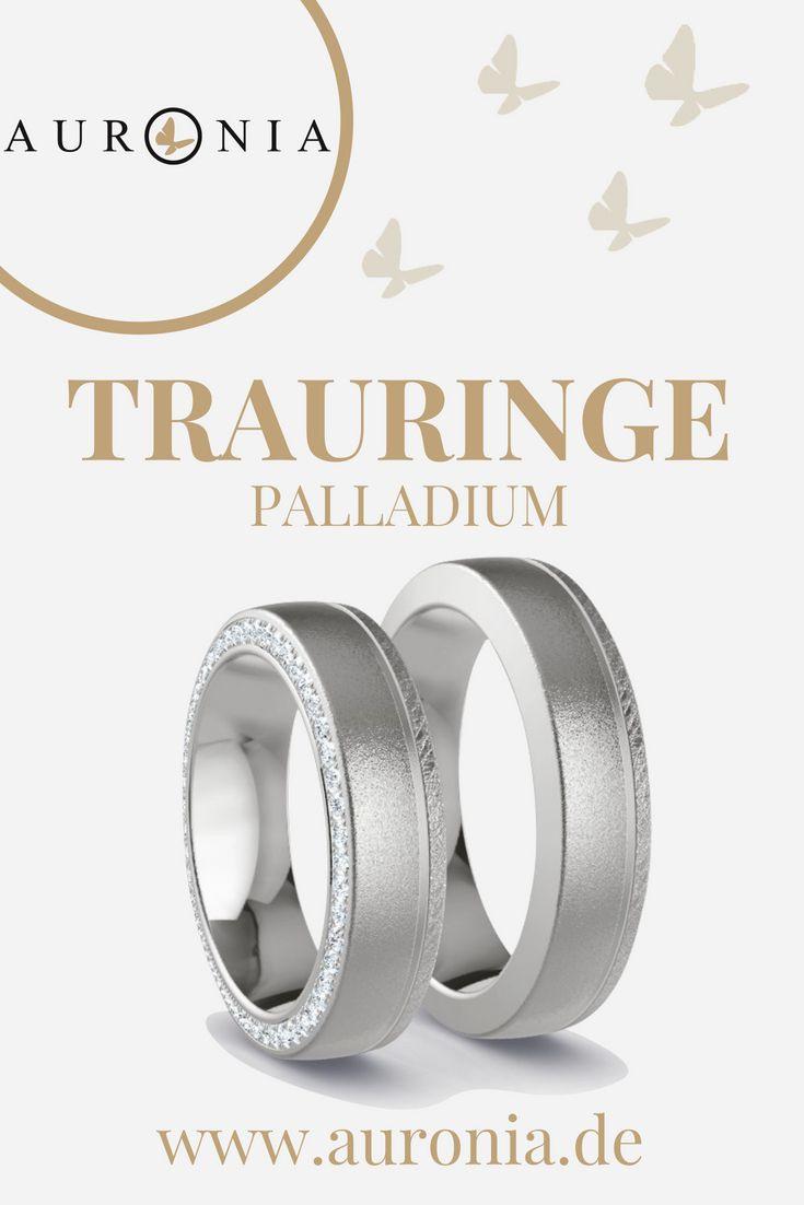 Trauringe Palladium Mit Stein, Schlicht, Breit, Sandmatt
