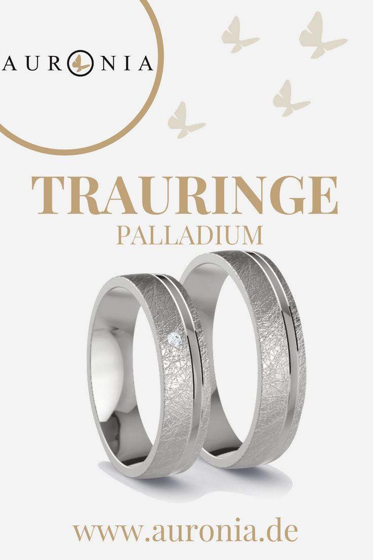 Trauringe Palladium Mit Stein, Schlicht, Schmal, Eismatt