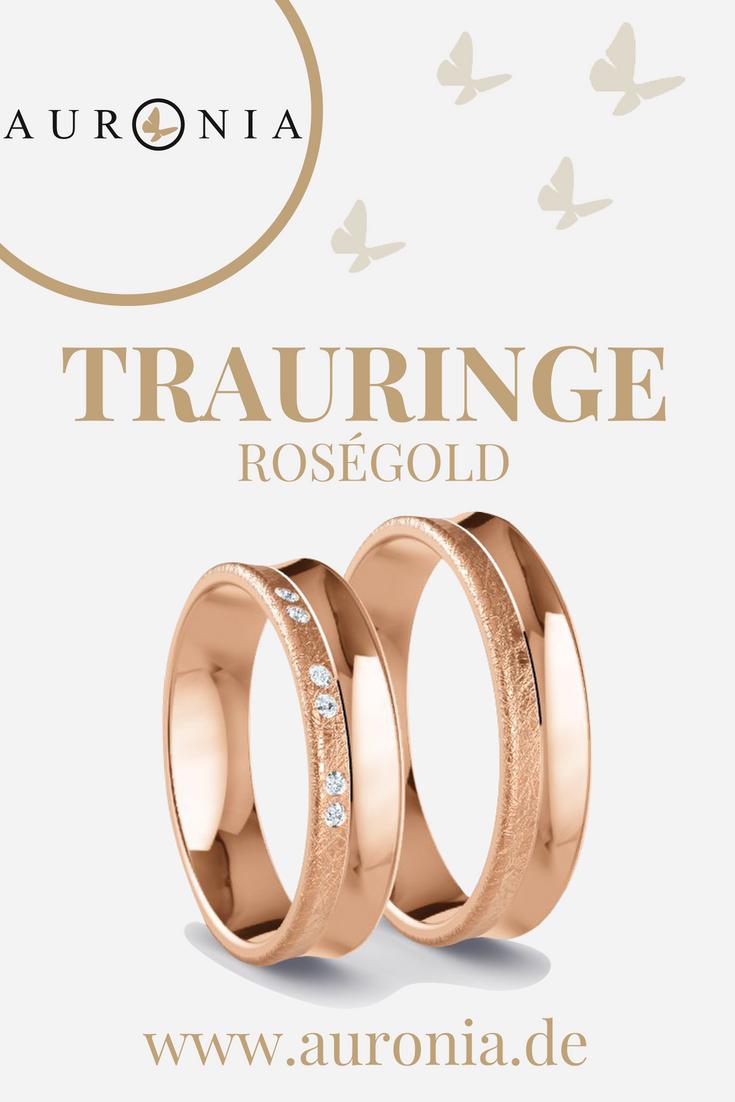Trauringe Roségold Mit Stein, Schlicht, Breit, Eismatt