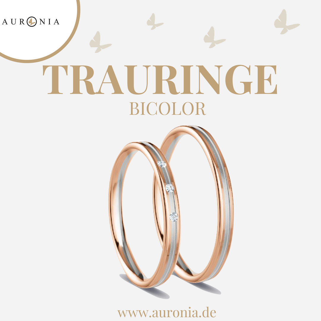 Trauringe Roségold Weißgold (Bicolor) Mit Stein, Schlicht