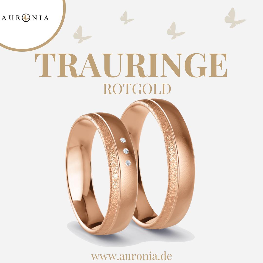 Trauringe Rotgold Mit Stein, Eismatt, Schrägmatt. Passende