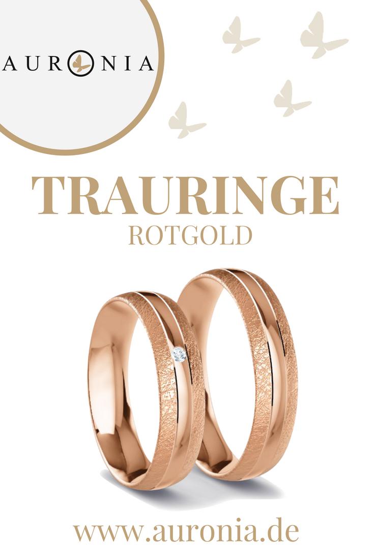 Trauringe Rotgold Mit Stein, Schlicht, Breit, Eismatt