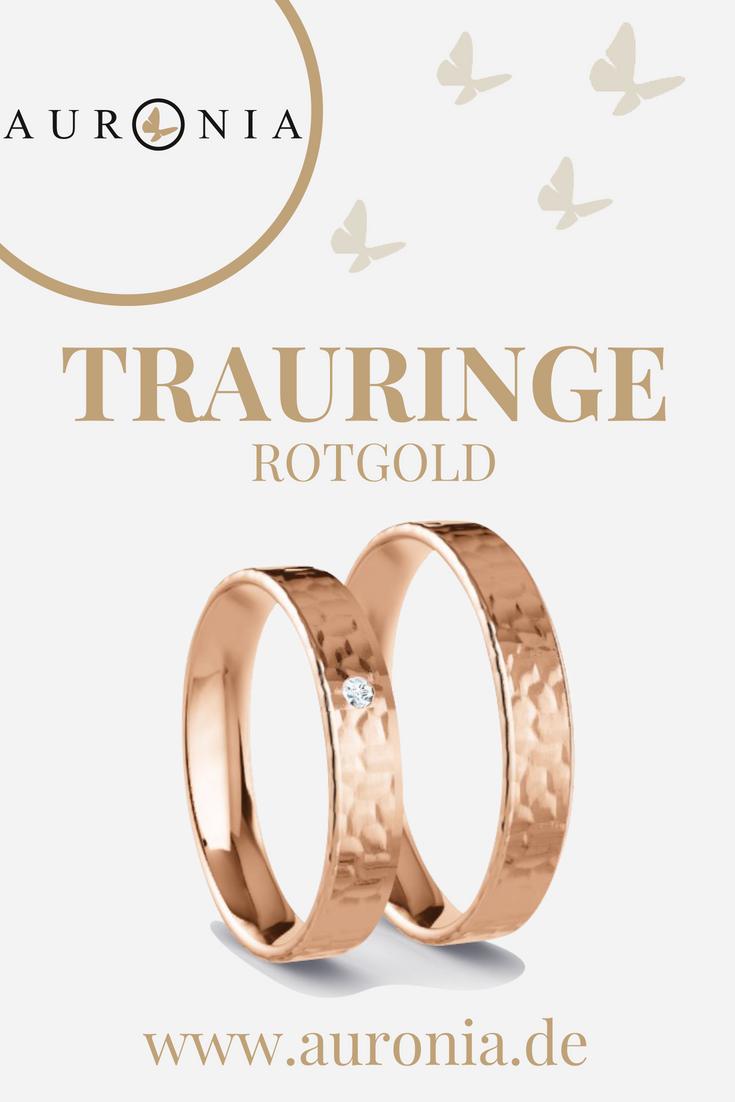 Trauringe Rotgold Mit Stein, Schlicht, Schmal, Hammerschlag