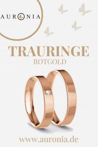 Trauringe Rotgold Mit Stein, Schlicht, Schmal, Poliert