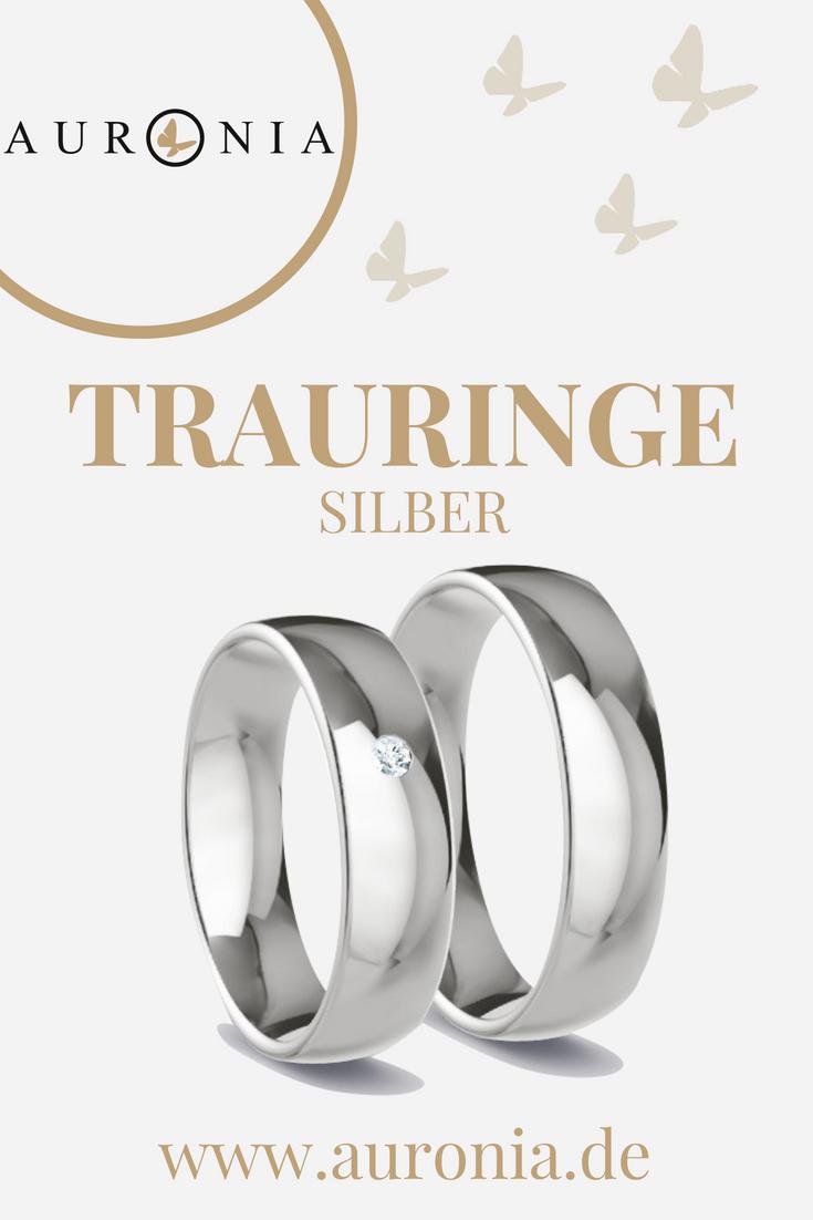 Trauringe Silber Mit Diamant, Schlicht, Breit, Poliert