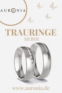 Trauringe Silber Mit Stein (Diamant), Schlicht, Breit