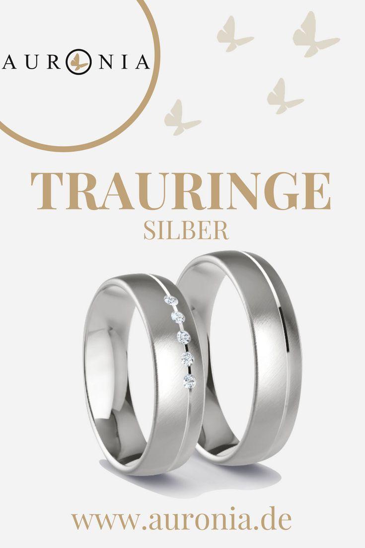 Trauringe Silber Mit Stein (Diamant), Schlicht, Breit ...