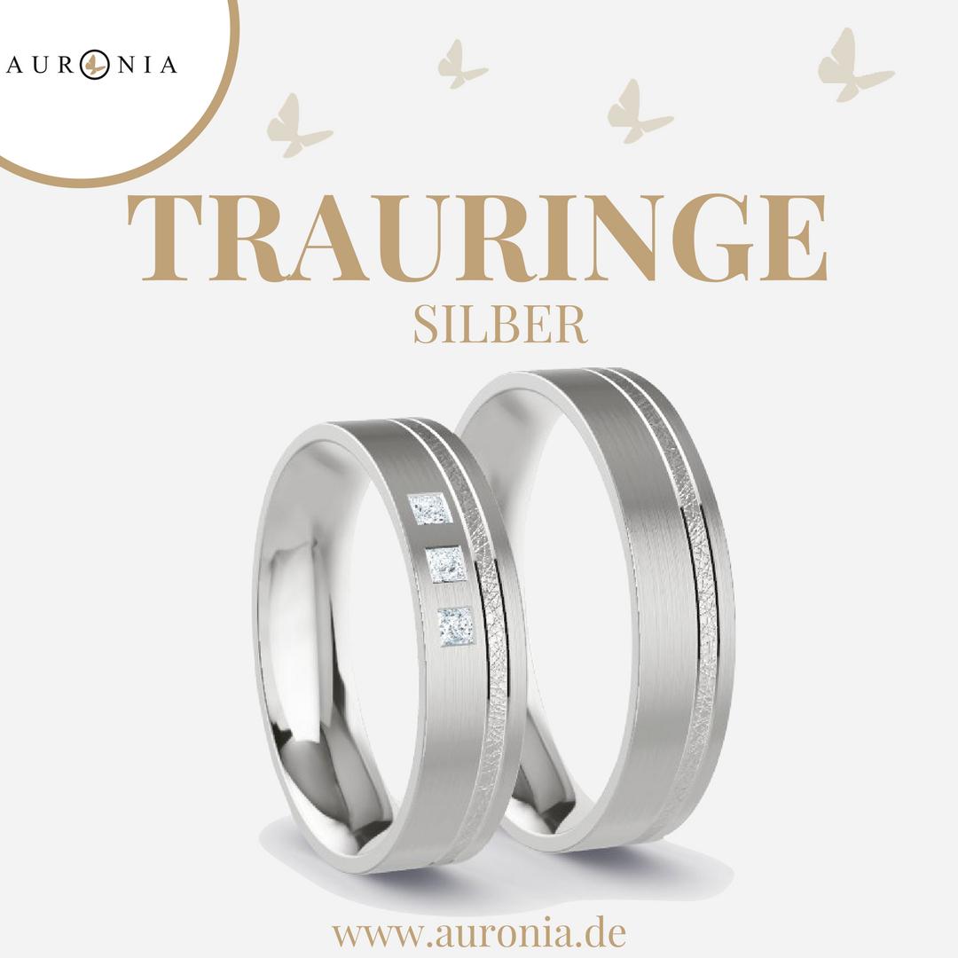 Trauringe Silber Mit Stein/diamant, Schlicht, Schmal, Breit