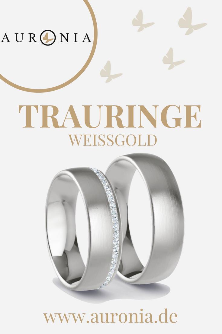 Trauringe Weißgold Mit Stein, Schlicht, Breit, Eismatt