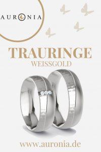 Trauringe Weißgold Mit Stein, Schlicht, Breit, Hammerschlag