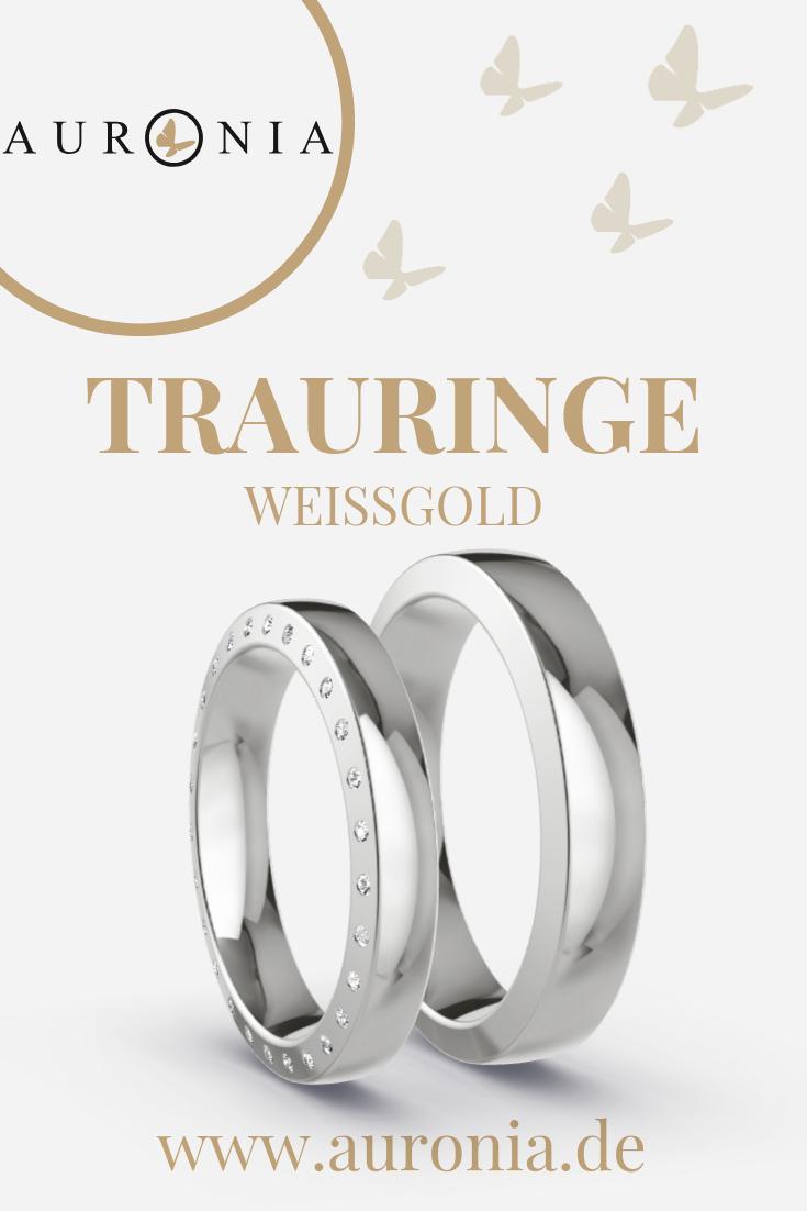 Trauringe Weißgold Mit Stein, Schlicht, Breit, Längsmatt