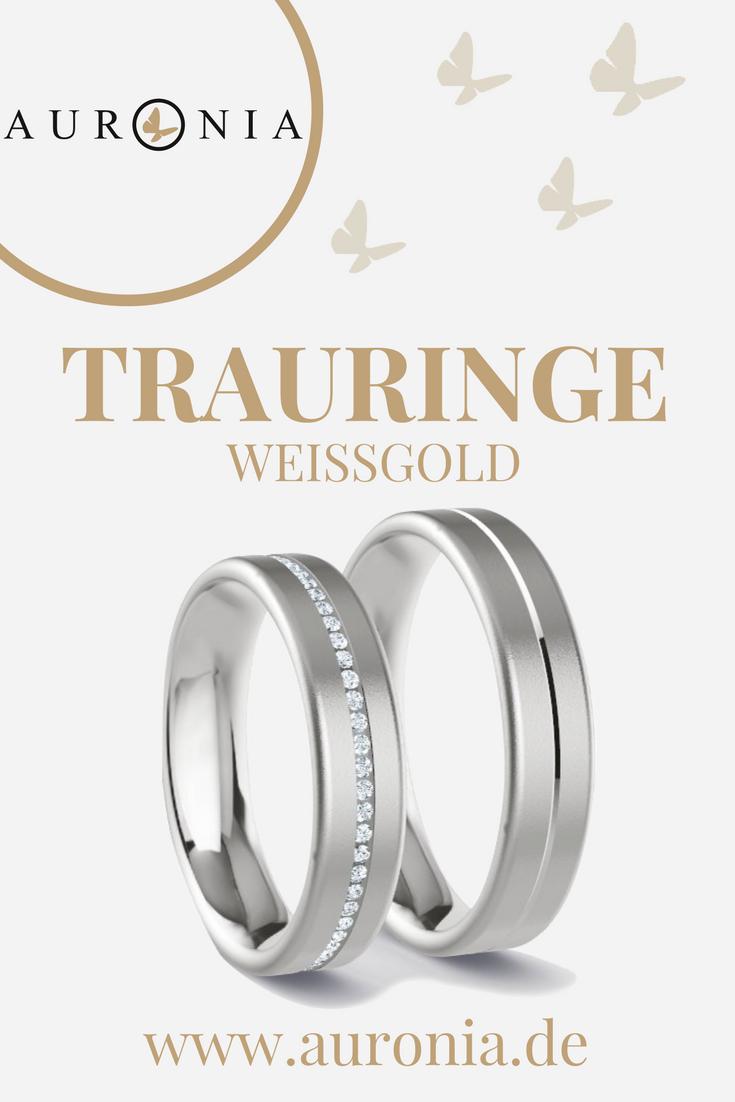 """Trauringe Weißgold Mit Stein, Schlicht, Breit Und """"sandmatt"""