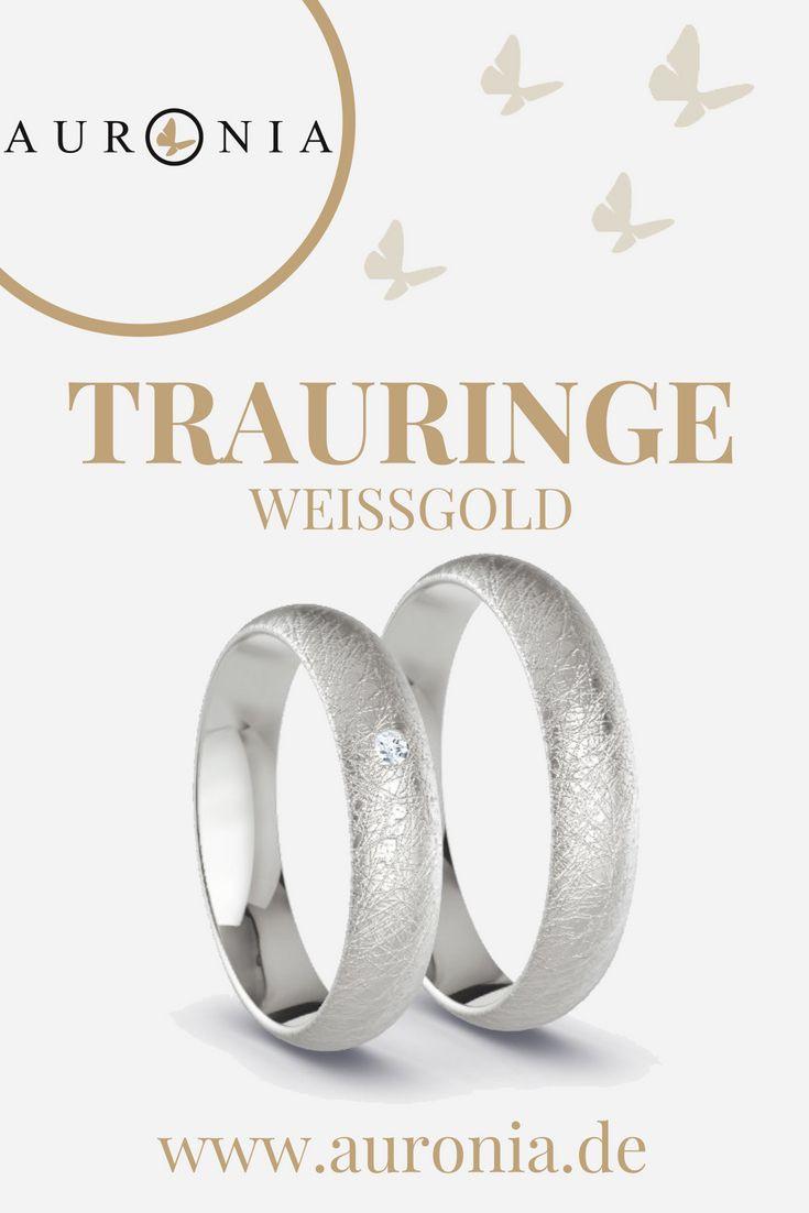 Trauringe Weißgold Mit Stein, Schlicht, Schmal, Eismatt