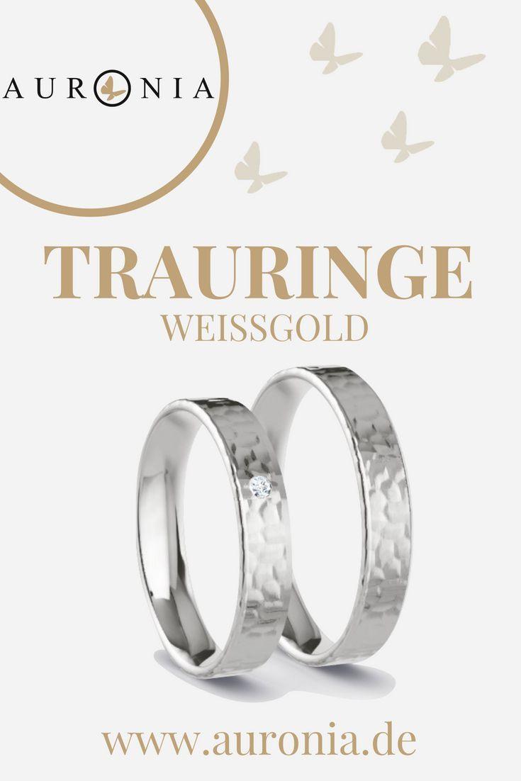 Trauringe Weißgold Mit Stein, Schlicht, Schmal, Gehämmert