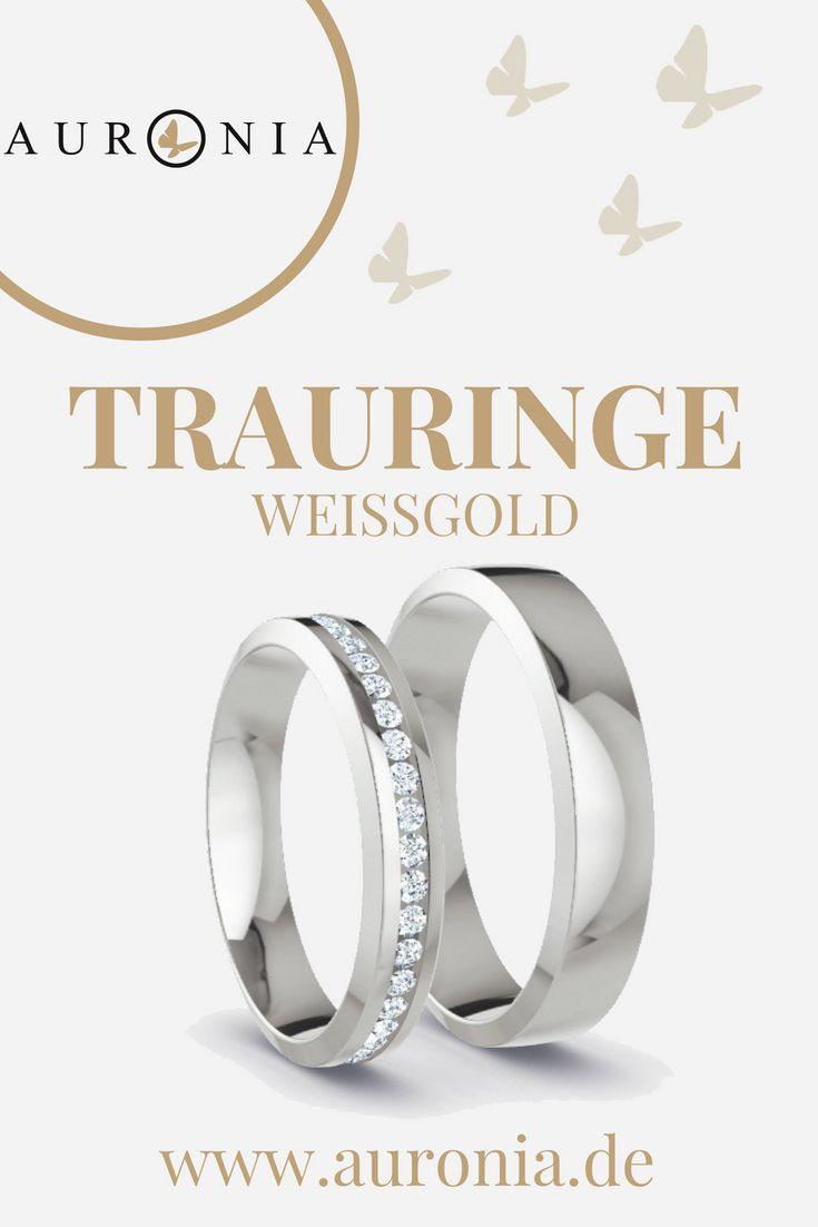 Trauringe Weißgold Mit Stein, Schlicht, Schmal, Matt