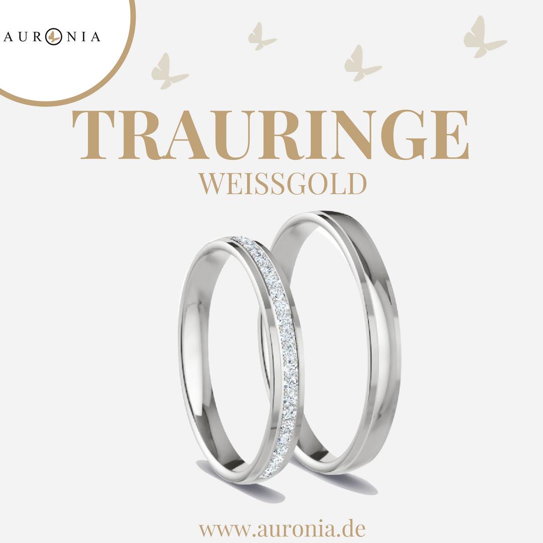 Trauringe Weißgold Mit Stein, Schlicht, Schmal, Poliert
