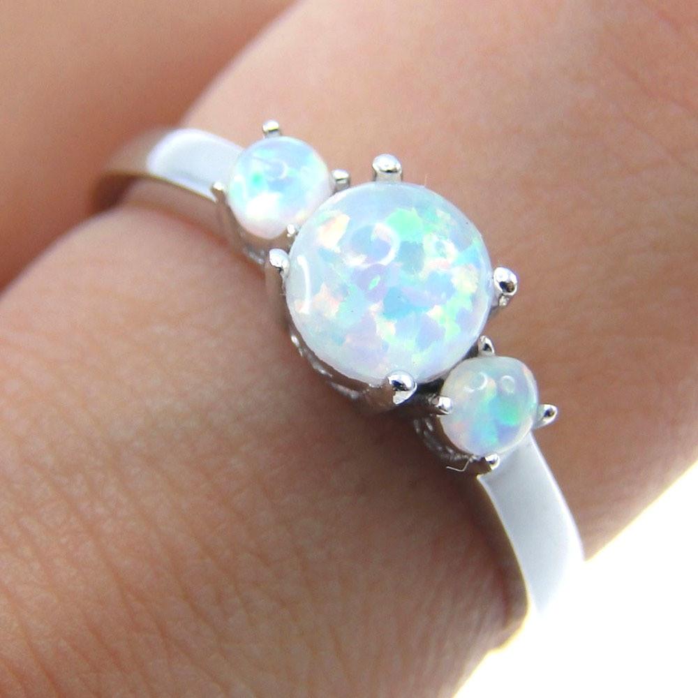 Us $11.19 20% Off|Edlen Schmuck Für Frauen Feuer Opal Ring 100% 925  Sterling Silber Schmuck Hochzeit Band Engagement Mit 3 Feuer Opal