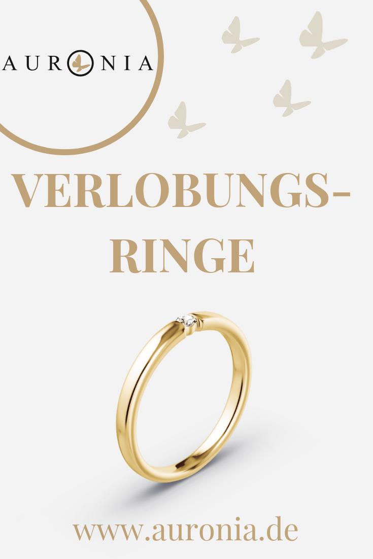 Verlobungsringe In Gelbgold Mit Diamant, Filigran, Schlicht