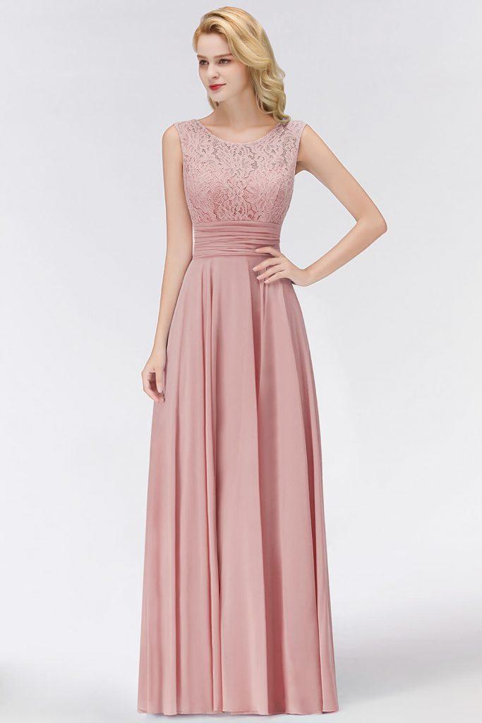 17 Leicht Abendkleid Altrosa Lang Vertrieb - Abendkleid