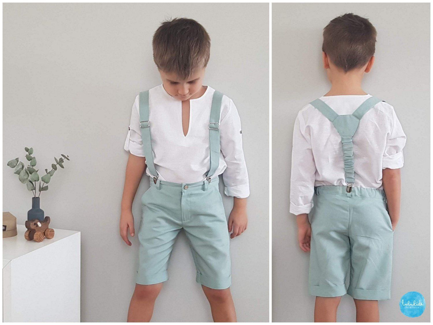 2-Piece Set: Short Pants + Suspenders Boys Linen Pants