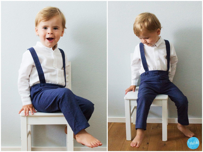 2 Teiliges Outfit: Blaue Lange Hose Mit Träger + Weißes