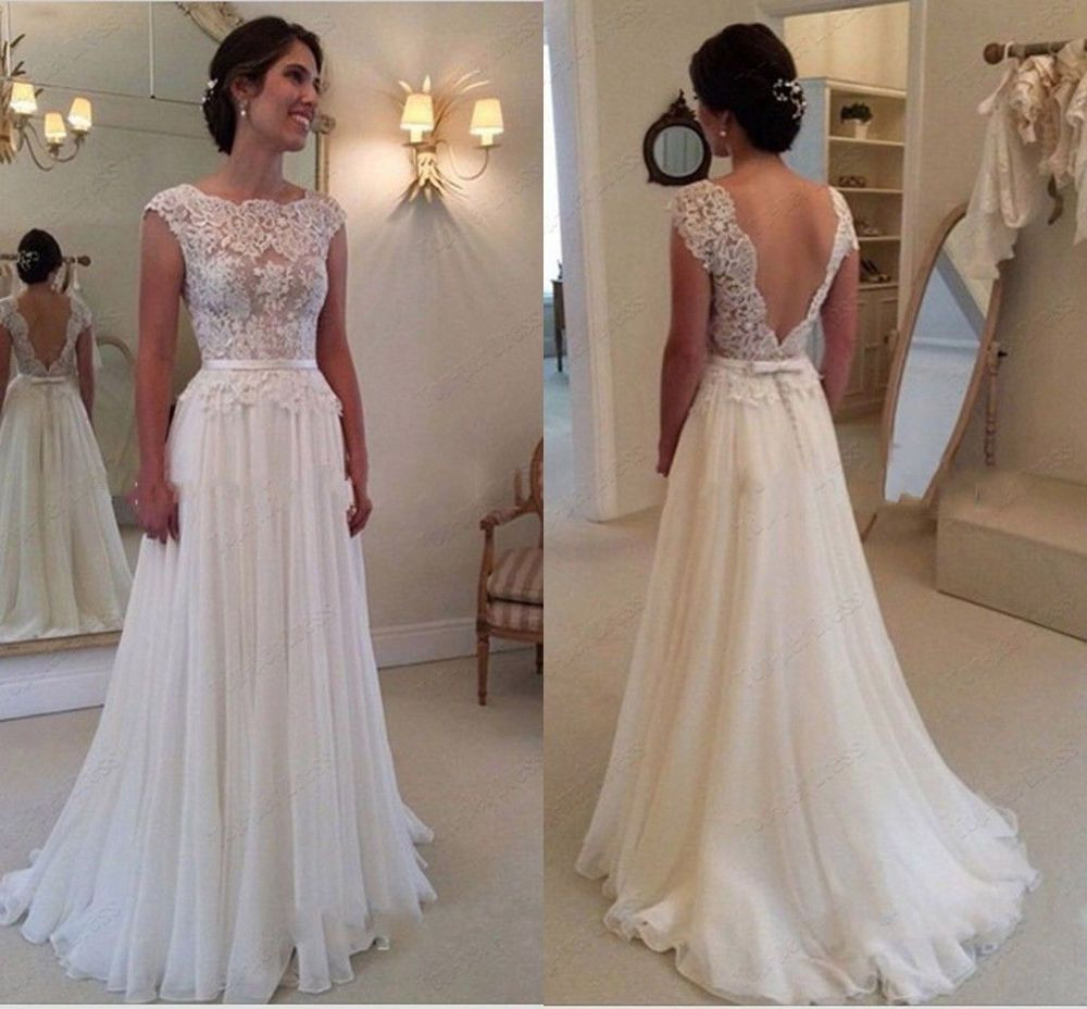 2015 Spitze Weiß Elfenbein Hochzeitskleid Brautkleid
