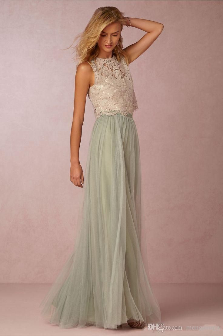2017 Vintage False Two Pieces Bridesmaid Dresses Lace Top