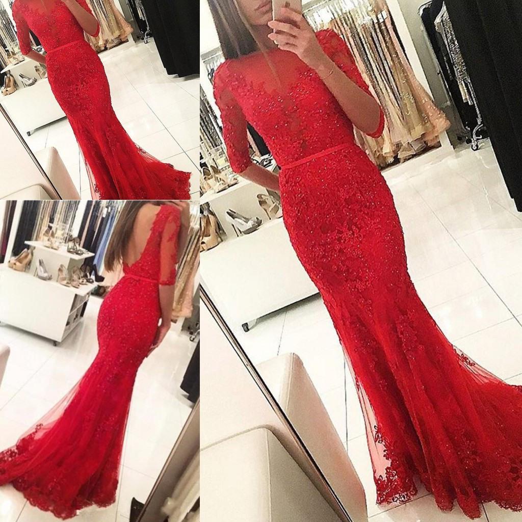 2018 Red Dresses Abendgarderobe Halbarm Meerjungfrau Tüll Applizierte  Spitze Sheer Elegante Hochzeiten Gast Prom Party Kleider