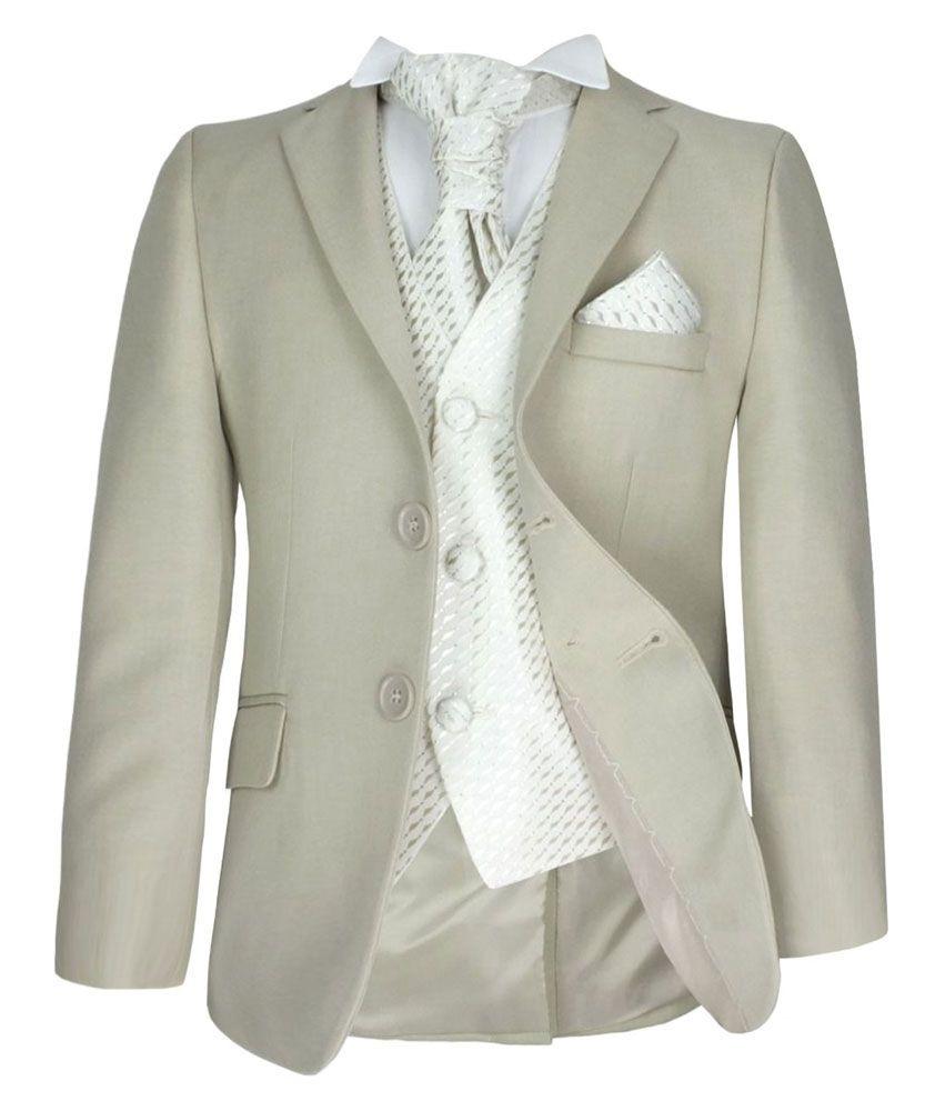 5 Piece Boys Formal Beige & Ivory Pageboy Suit Wedding Christening Prom-6-9  Months
