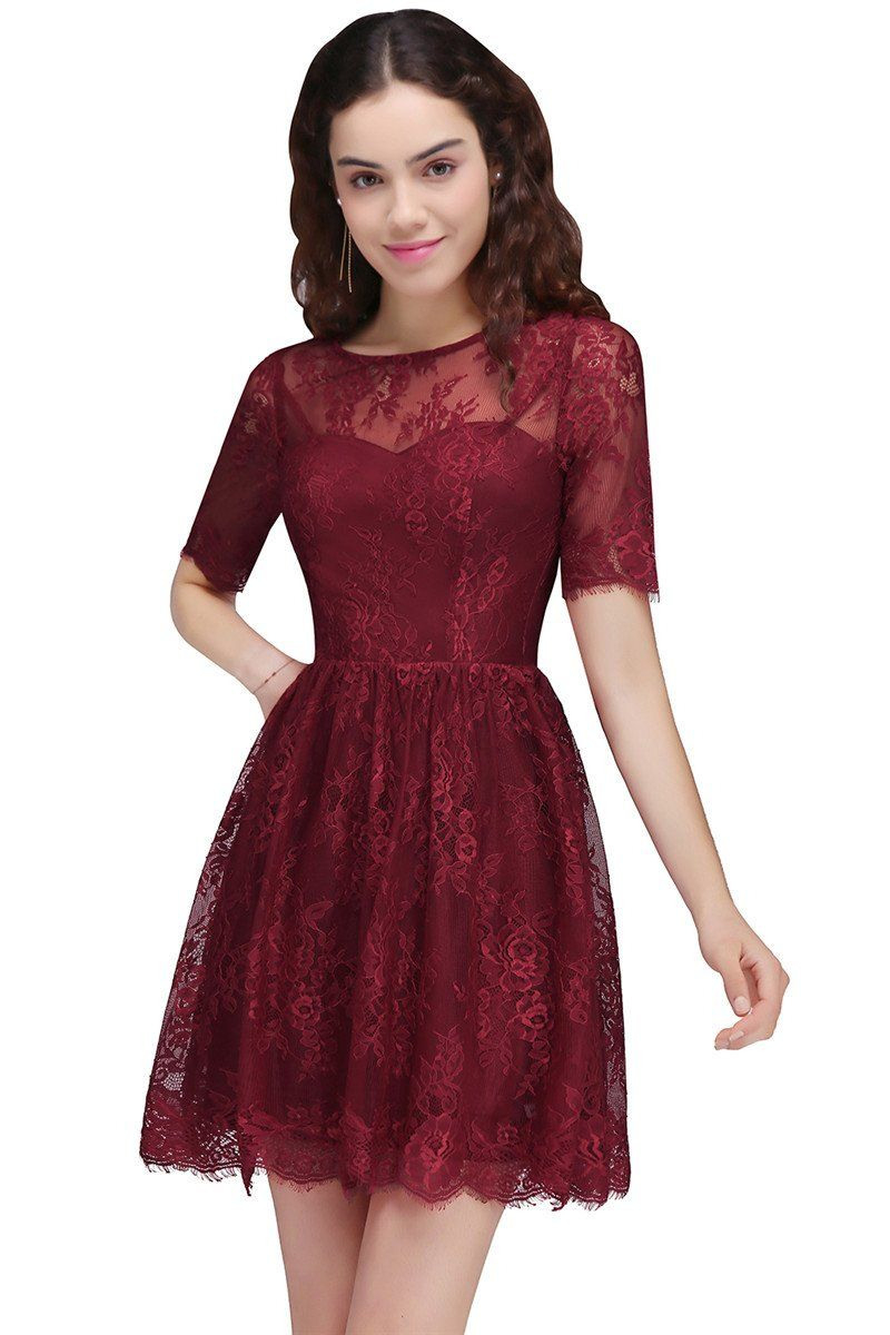 A-Line Round Neck Short Lace Burgundy Homecoming Dresses In