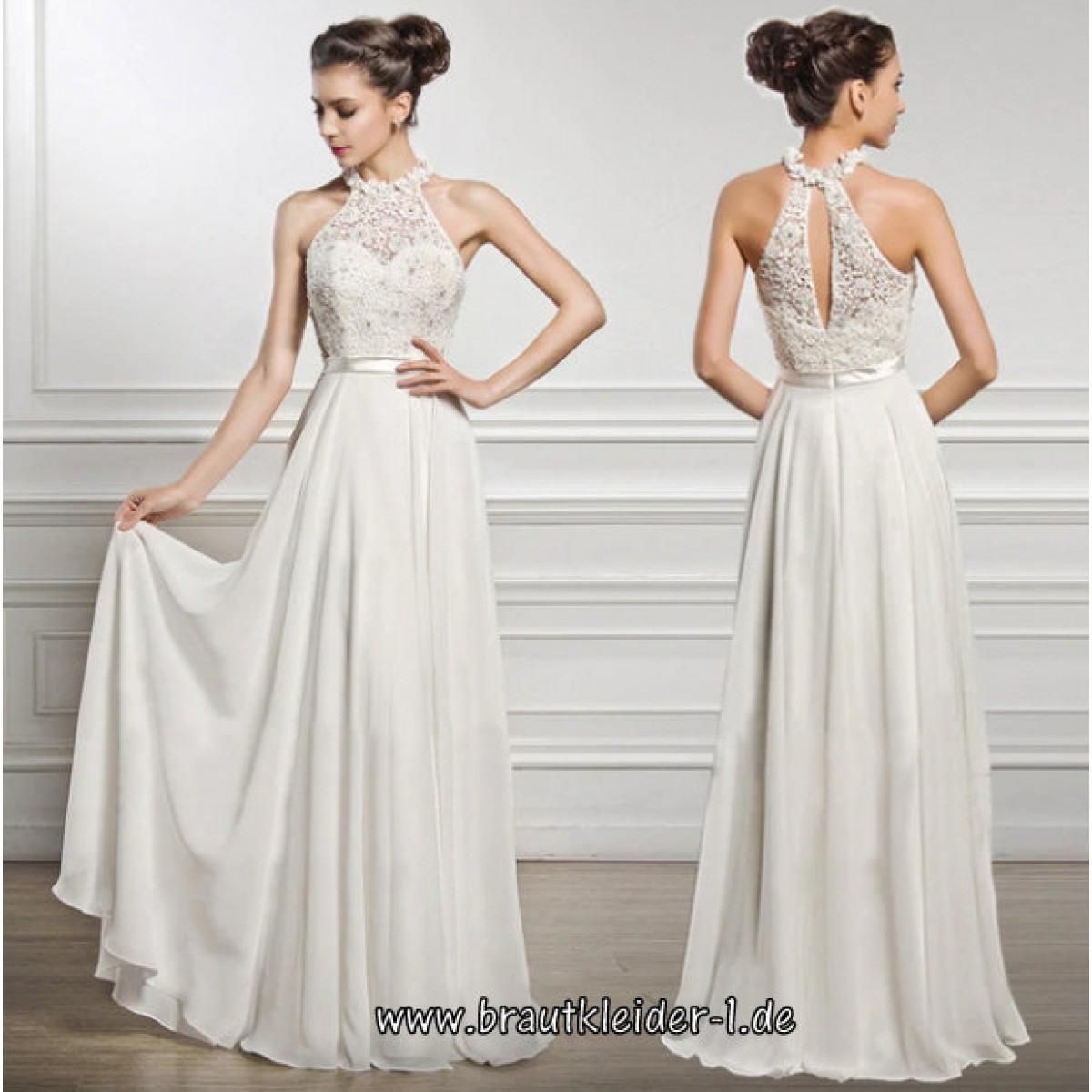 A Linie Empire Kleid Für Den Standesamt In Weiß Mit Blumen