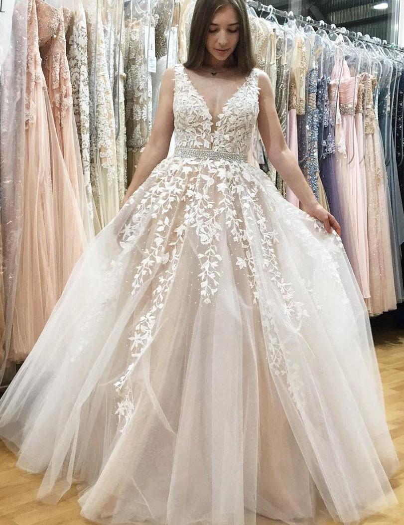 A-Linie V-Ausschnitt Lang Champagner Tüll Hochzeitskleid Mit Strasssteinen  Applikationen V-Rücken