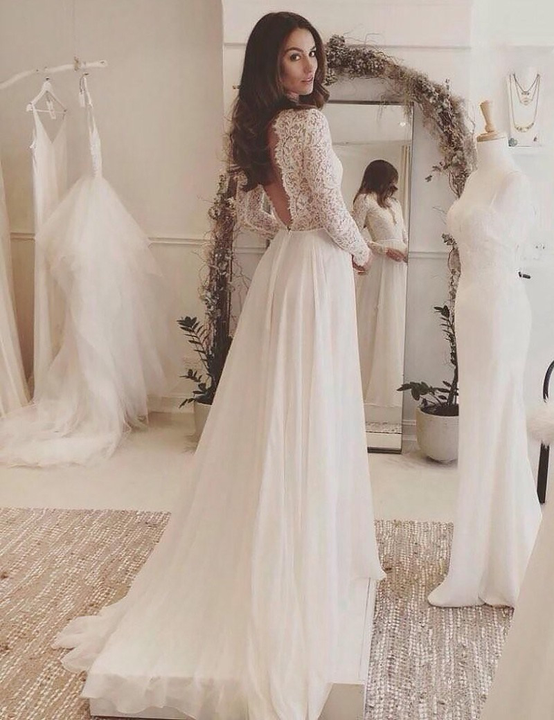 A-Linie V-Ausschnitt Lange Ärmel Rückenfrei Chiffon Hochzeitskleid Mit  Spitze