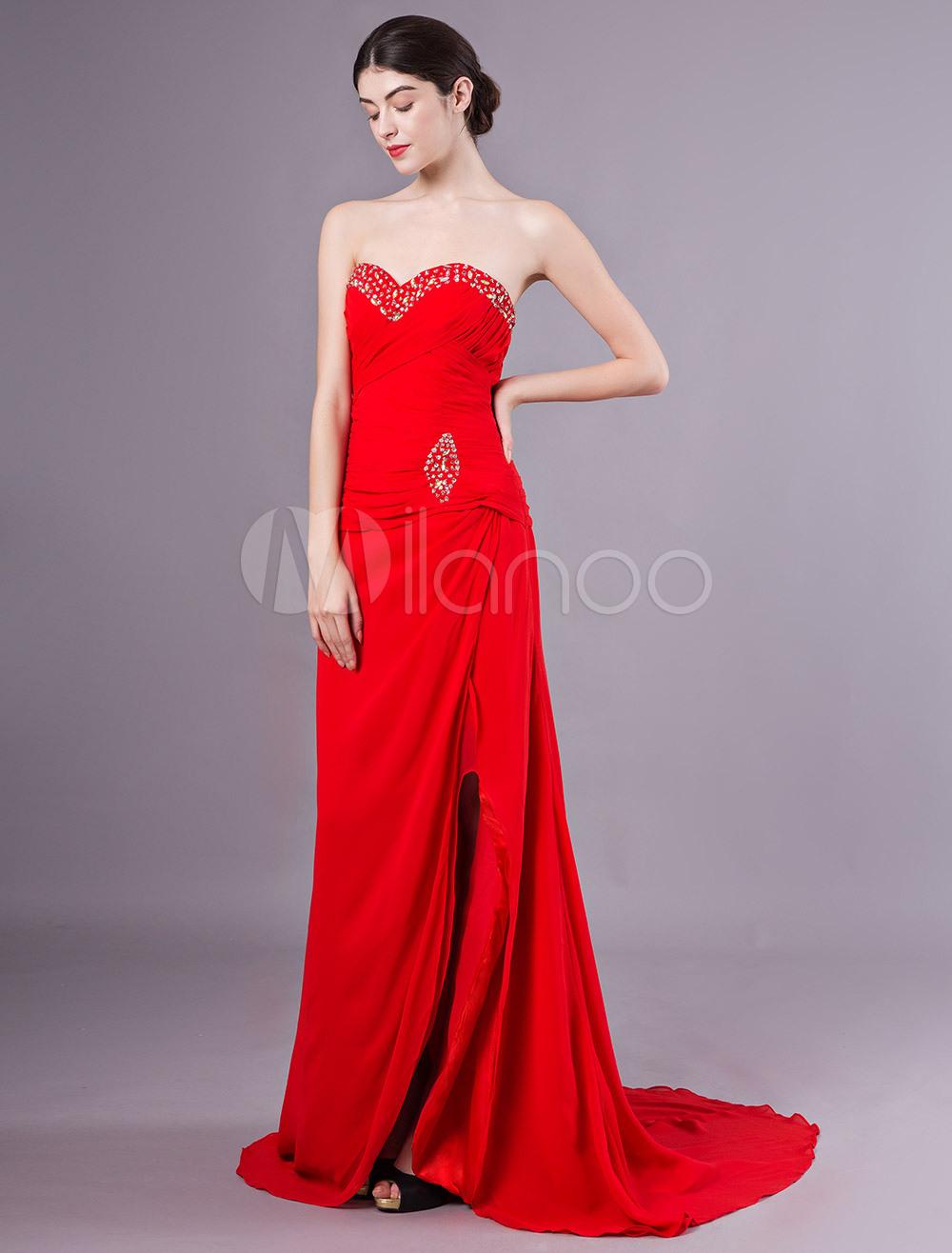 Abendkleider Herz-Ausschnitt Hochzeit Etui- Ballkleider Chiffon Formelle  Kleider Ärmellos Mit Reißverschluss Rot Und Court-Schleppe