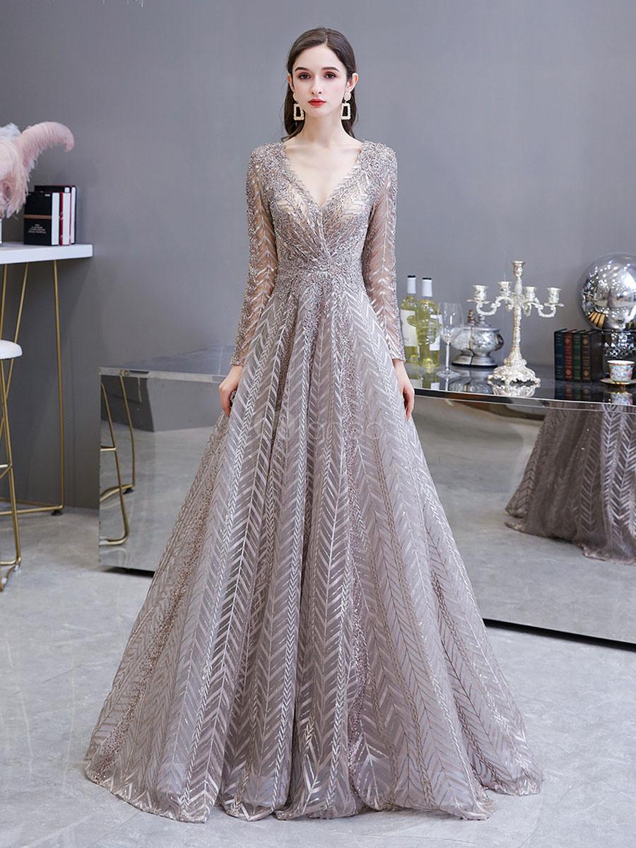 Abendkleider V-Ausschnitt Hochzeit Langarm Ballkleider Blushrosa Formelle  Kleider Spitze Prinzessin Mit Reißverschluss Mit Schleppe 30Cm Und Spitzen