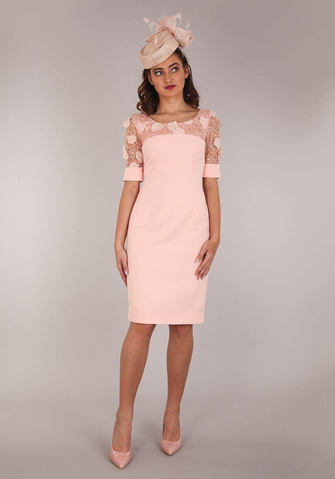 Aideen Bodkin Guava Pencil Dress, Apricot Pink (Mit Bildern