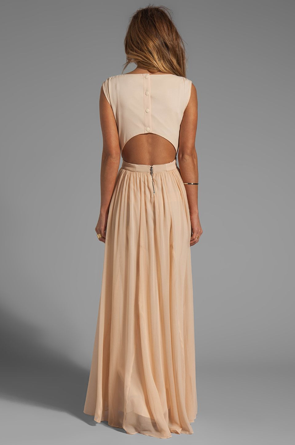 Alice + Olivia Triss Sleeveless Maxi Dress With Leather Trim