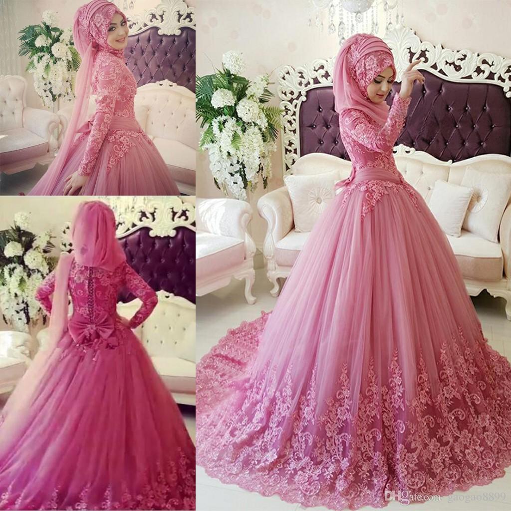 Arabisch Muslim Brautkleid 2017 Türkische Gelinlik Spitze Applique  Ballkleid Islamischen Brautkleider Hijab Langarm Brautkleider