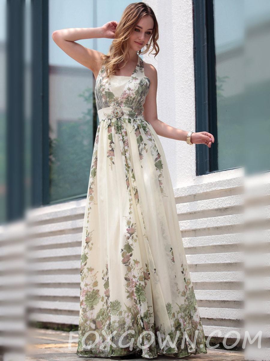 Ärmelloses Halter In Voller Länge Formale Kleid Mit Blumen