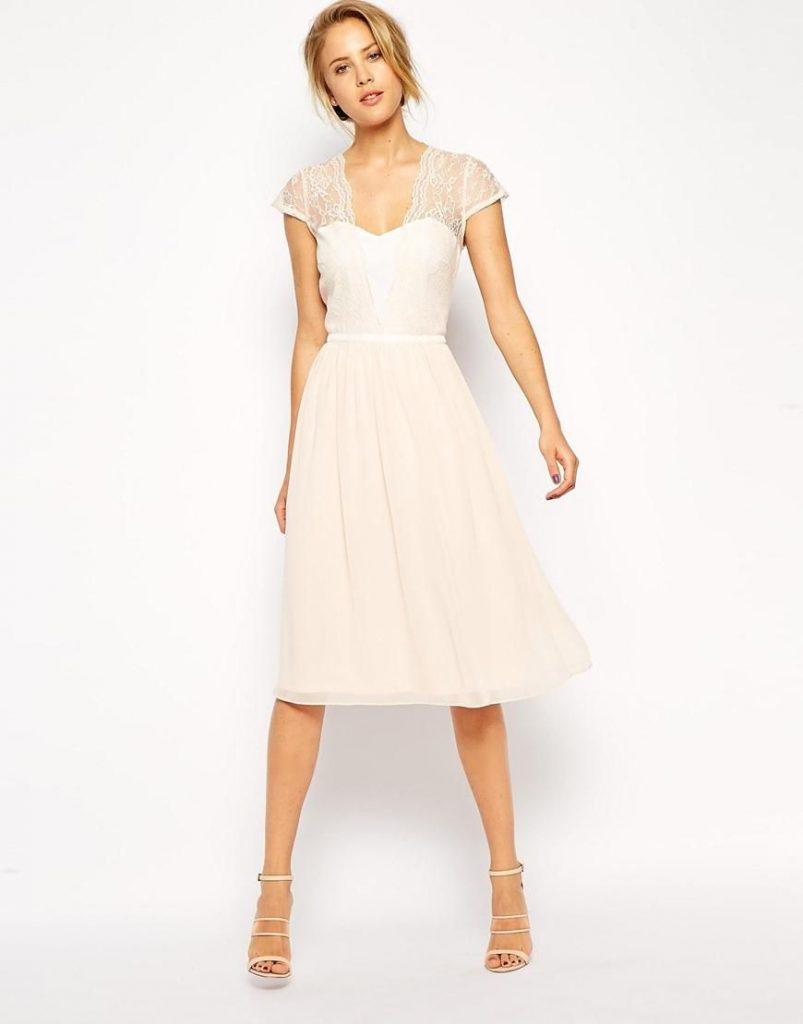 Asos  Asos Scallop Lace Edge Midi Dress At Asos  Kleid - Abendkleid