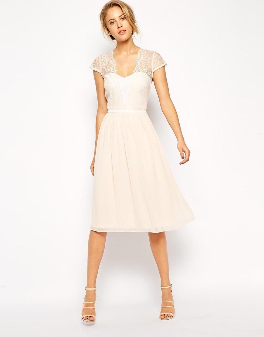Asos | Asos Scallop Lace Edge Midi Dress At Asos | Kleid