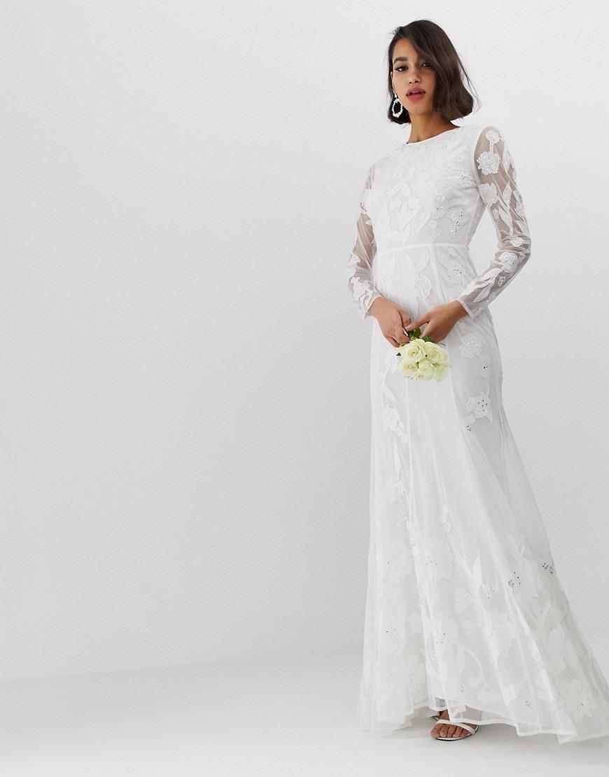 Asos Edition - Hochzeitskleid Mit Verzierter Applikation - Weiß