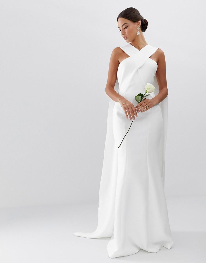 Asos Synthetik Hochzeitskleid Mit Cape Und Verdrehter