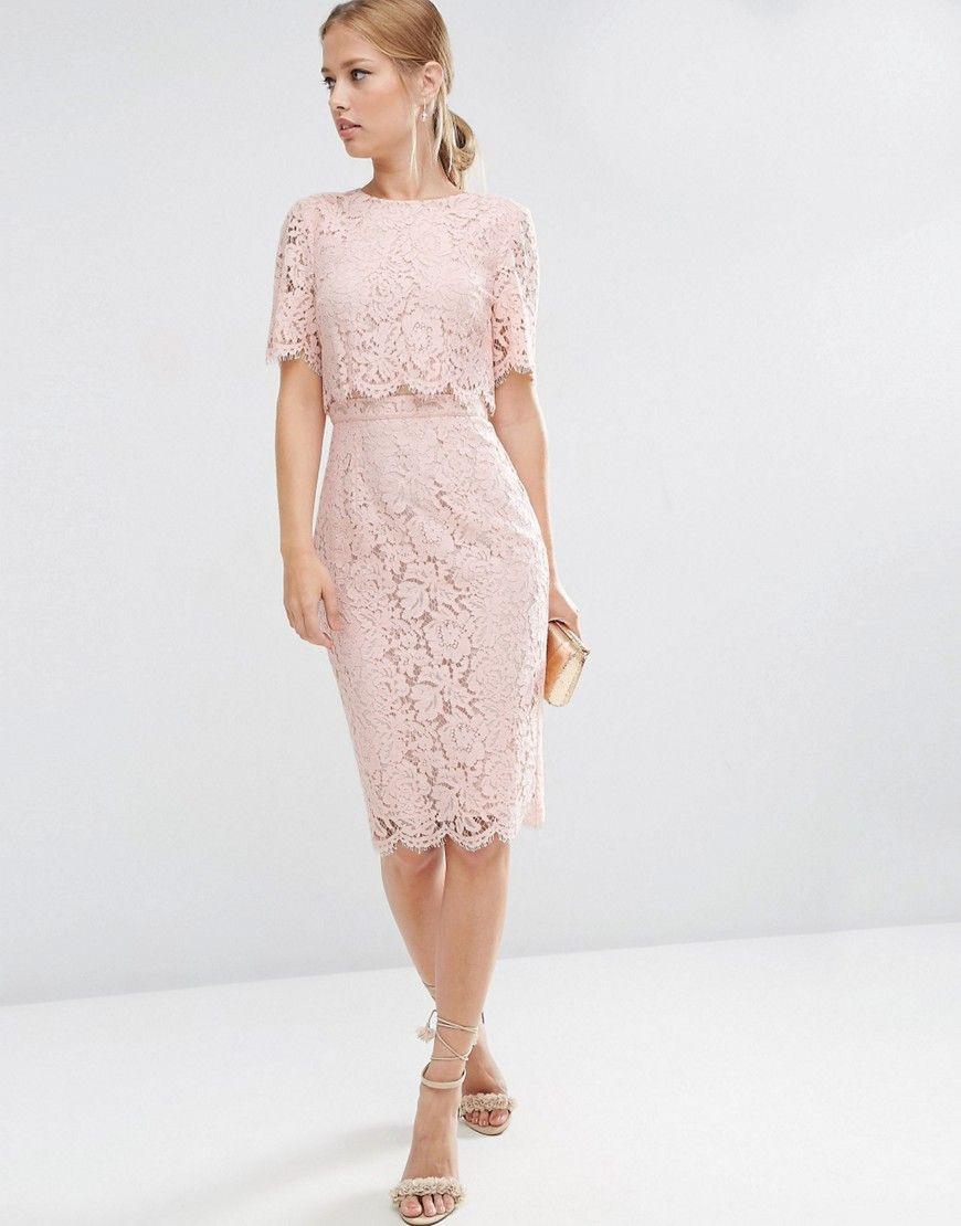 Asos+Lace+Crop+Top+Midi+Pencil+Dress | Kleidung, Kleider